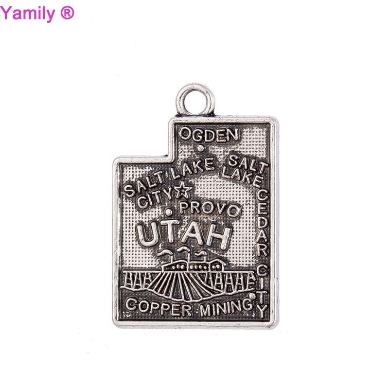 10pcs-- 23x16mm Antique tibetan silver tone America State Utah Map charm pendant