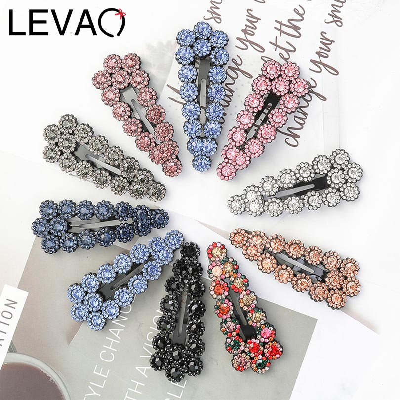 LEVAO Hollow Crystal Rhinestone Women Fashion Sweet Korean Barrettes BB Clips Hairpins Hairgrips Girls Hair Accessories   Headwear