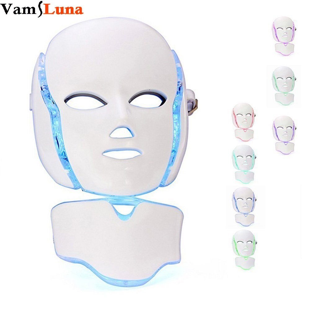 7 Color Photon LED Facial Neck Mask For Skin Rejuvenation Anti-Aging Beauty Light Therapy Light For Home Use Beauty Instrument portable home use led photon blue green yellow red light therapy beauty device for face and body skin rejuvenation firming