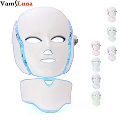 7 Color Photon LED Facial Neck Mask For Skin Rejuvenation Anti-Aging Beauty Light Therapy Light For Home Use Beauty Instrument