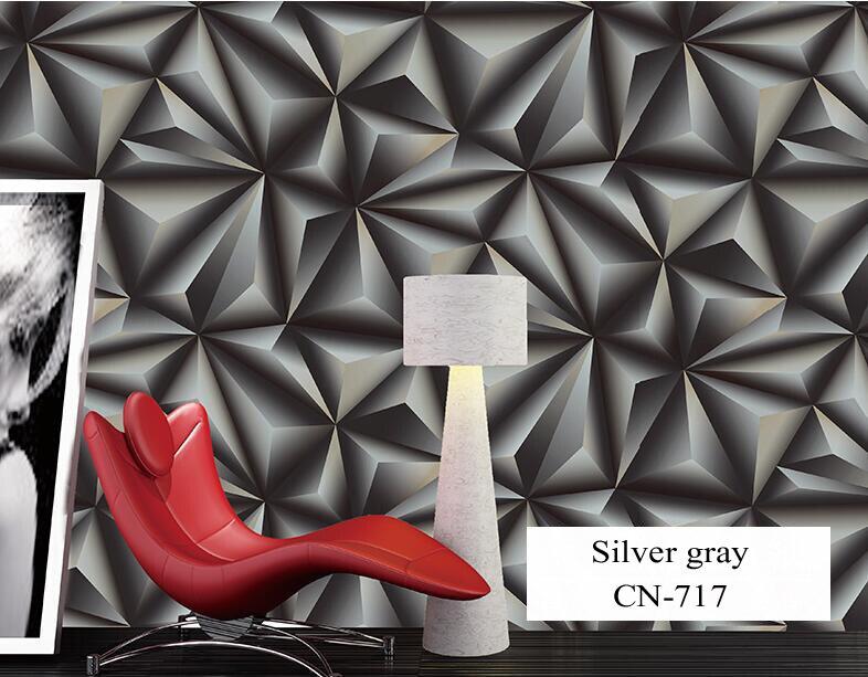 Papier peint pour murs 3 D géométrie trdimensionnelle moderne 4D Tv fond papier peint rouleau argent gris papiers peints pour salon