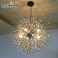 Modern Firework LED Pendant Light Clear Crystal Hanging Pendant Lamp for Dining Room Restaurant Living room Entryway Coffee Bar