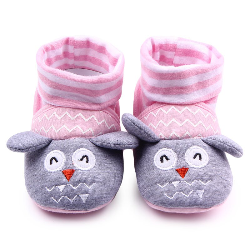 J58 0-12M Cartoon Animal Newborn Baby Girls Boys Anti-Slip Socks Infant Slipper Shoes Boots