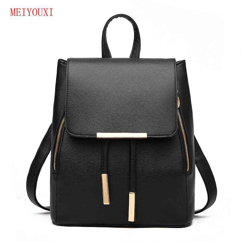 New Women Leather pu Backpack Black Bolsas Mochila Feminina Large Girl Schoolbag Travel Bag Solid Candy Color blue Pink white  new women leather backpack black bolsas mochila feminina girl schoolbag travel bag solid candy color green pink beige