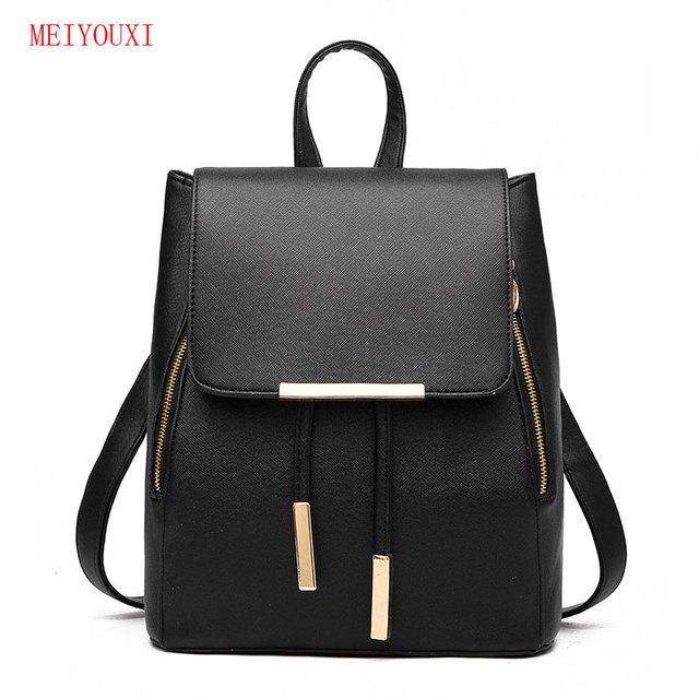 36c9ac304 New Women Leather pu Backpack Black Bolsas Mochila Feminina Large Girl  Schoolbag Travel Bag Solid Candy Color blue Pink white