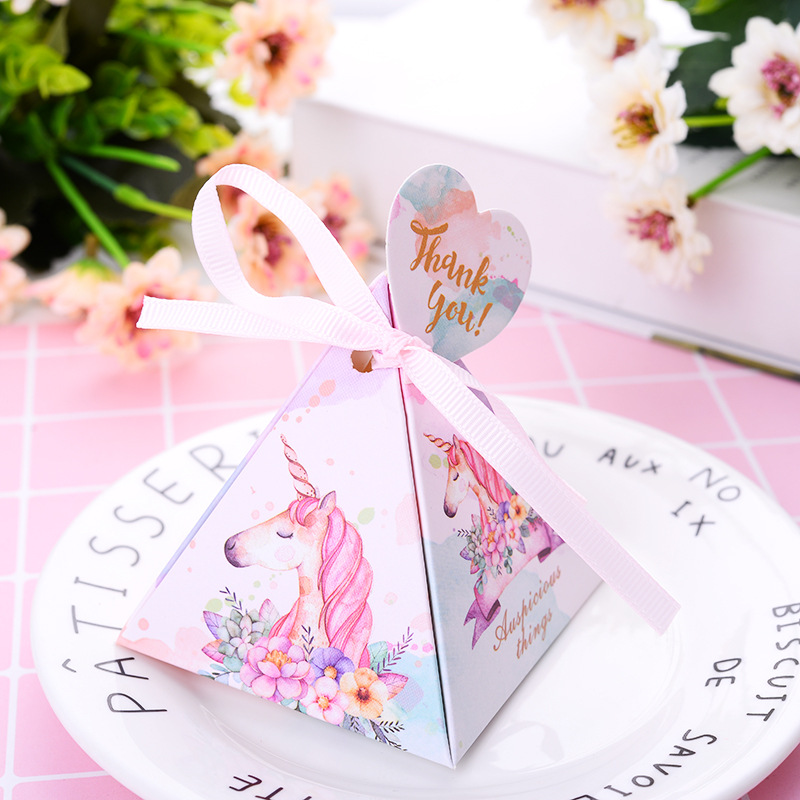10PCS Unicorn Candy Dragee Gift Box Packaging Paper Wrapping Gift Bag Wedding Deco Mariage Chocolate Box With Tags And Ribbons