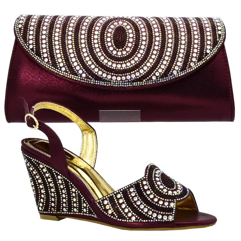 Zapatos Bolsa Diamantes Fiesta Las oro La Tinto Africanas Mujeres De Boda Para Italiano Señoras Negro púrpura Decorado Y Bolso Imitación plata Con Zapato vino Aq5X7wznx