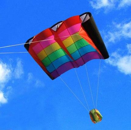 Cerf-volant Parafoil multicolore professionnel 230 cm/cerfs-volants arc-en-ciel souples avec outils volants cerf-volant de plage - 2