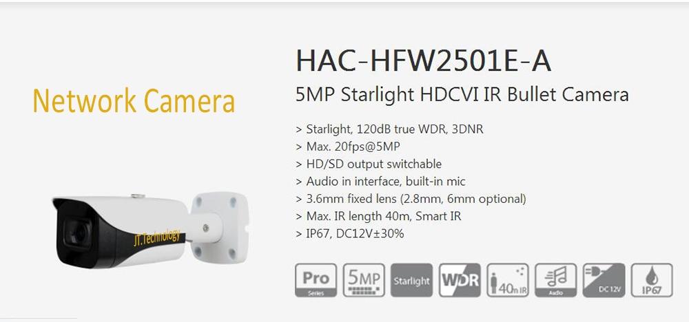 Free Shipping DAHUA CCTV Security Outdoor Camera 5MP Starlight HDCVI IR Bullet Camera IP67 Without Logo HAC-HFW2501E-A free shipping dahua cctv camera 4k 8mp wdr ir mini bullet network camera ip67 with poe without logo ipc hfw4831e se