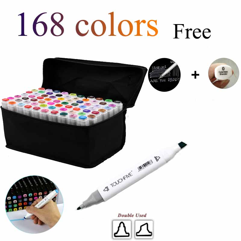 Touchfive 168 colors Art markers set designers art mark pen Alcohol paint Marker pen manga cartoon graffiti sketch 80 colors painting art marker pen alcohol marker pen cartoon graffiti dual headed sketch markers set art supplies black white