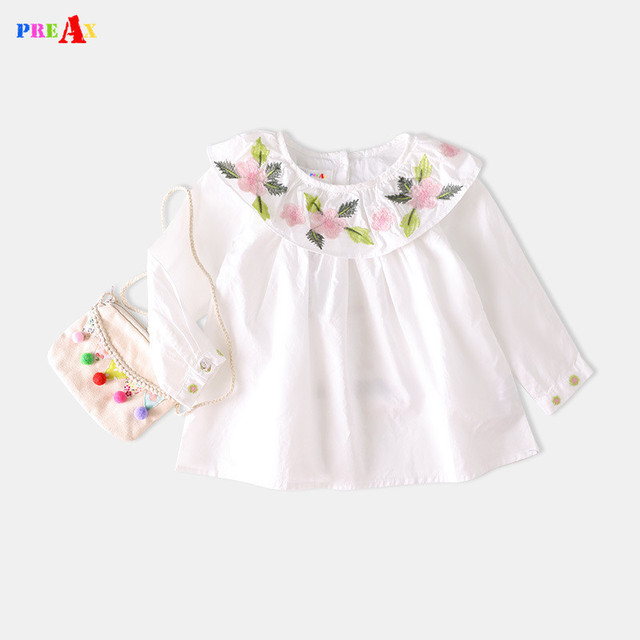 54280147 Spring Girls White Blouses Tops Cotton Flower Embroidery Casual Baby Girl Princess  Shirts Children Kids Clothing