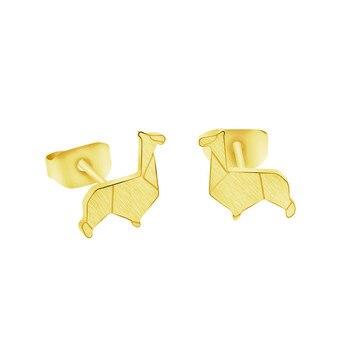 Origami Lama Ohrring Edelstahl Stolz Lil Lama Stud Ohrringe Für Frauen Brincos Beste Freund Geschenk 2019