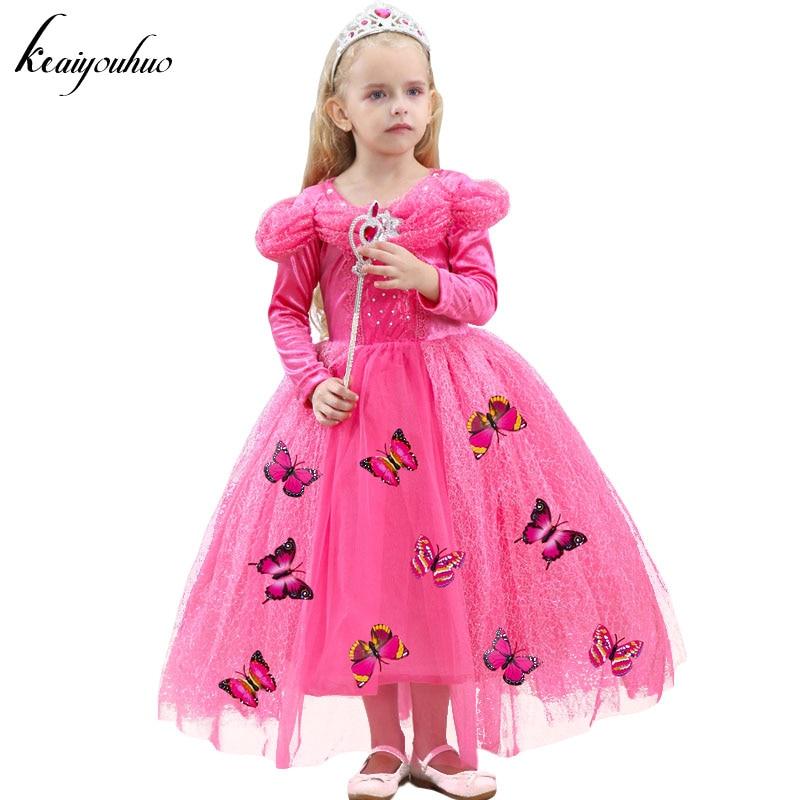 Keauhou vestido de Cenicienta niños mariposa manga larga princesa ...
