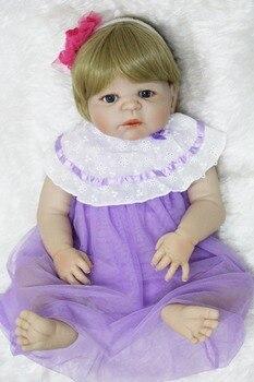 Bebé niña reborn cuerpo completo de silicona muñecas reborn Peluca de pelo rubio vestido púrpura alta calidad niños muñeca regalo muñecas reborn
