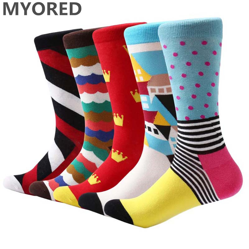 MYORED 5 pair/lot Mens socks Gradient stripe socks Business dress men popular bright funny socks colorful long wedding gift