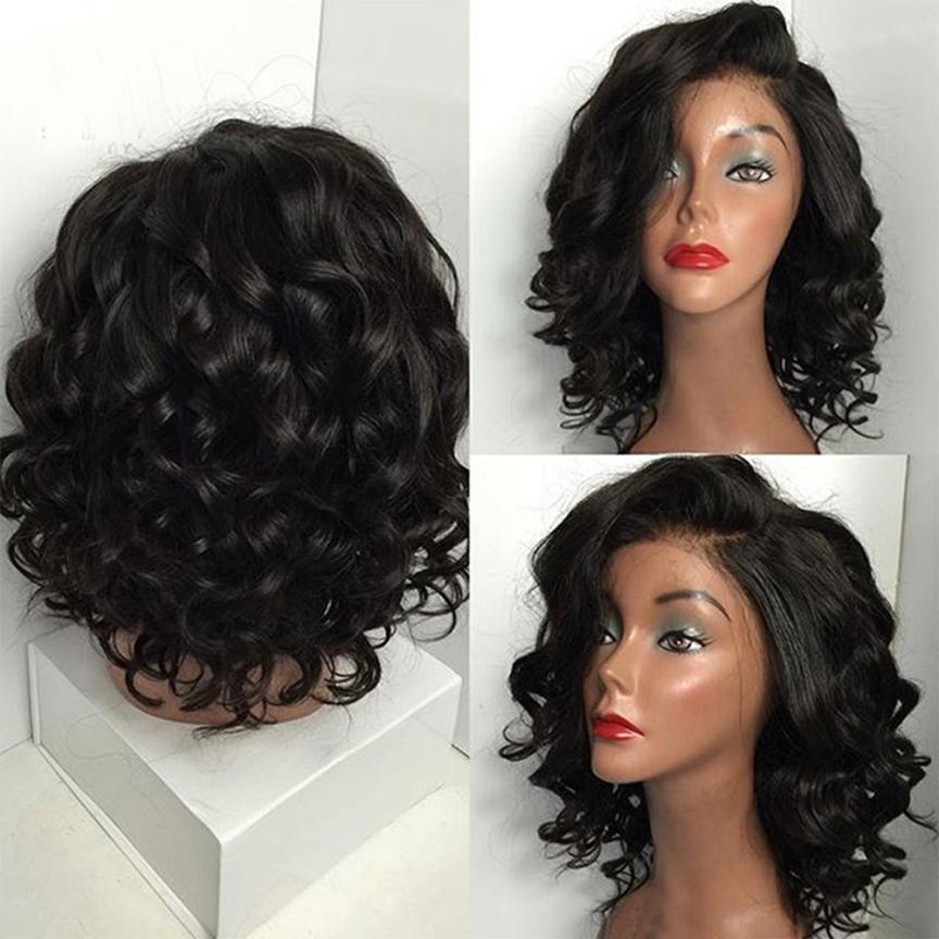 Womens Fashion Black Brazilian Short Wavy Curly Parting High Temperature Fiber Wig 0623