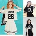 Kpop got7 Wang Jiaer en la misma ropa alrededor que dos piezas camiseta de la falda corta vestido con mangas cortas