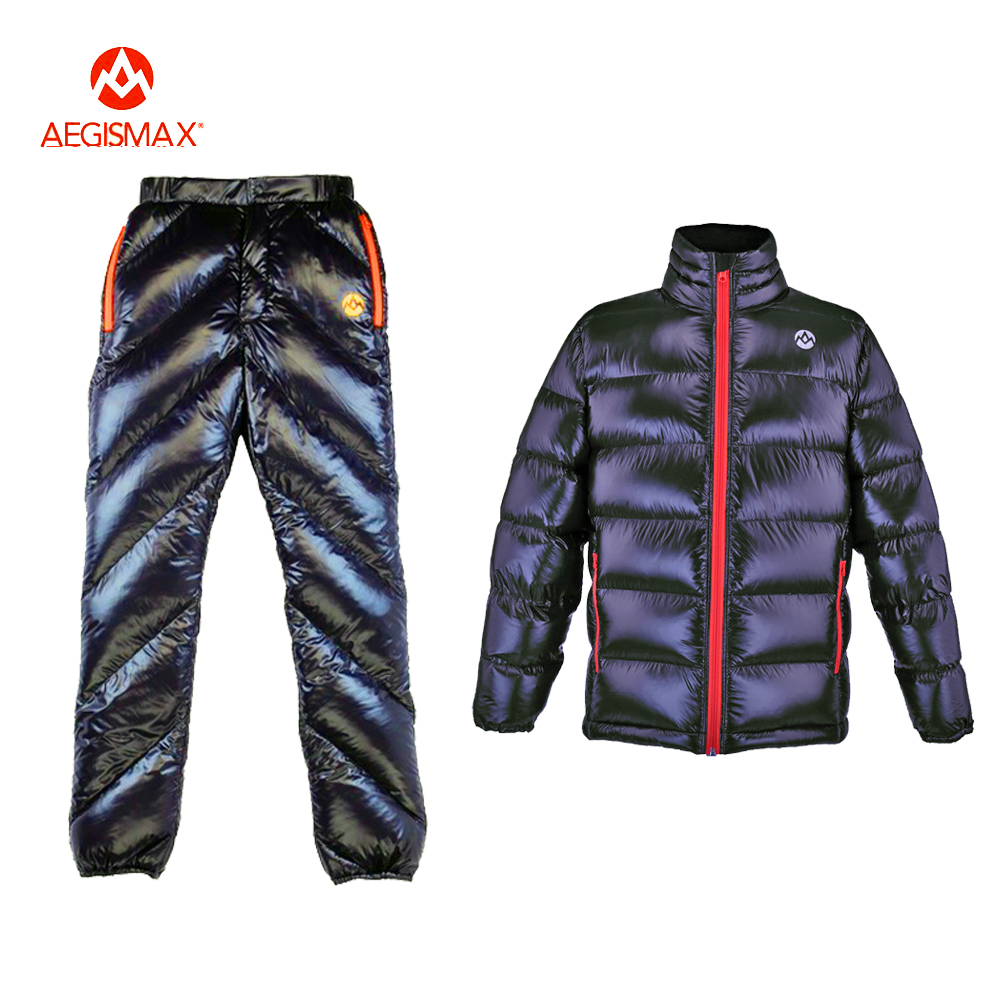 AEGISMAX Adult Unisex Outdoor Sport Down Pants Ultralight Fill 95% White Goose Down Keep Warm Waterproof Camping Winter Trousers
