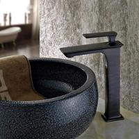 Free ship New arrival single hole oil rubbed bronze Bathroom Vessel Sink Mixer Tap TALL square