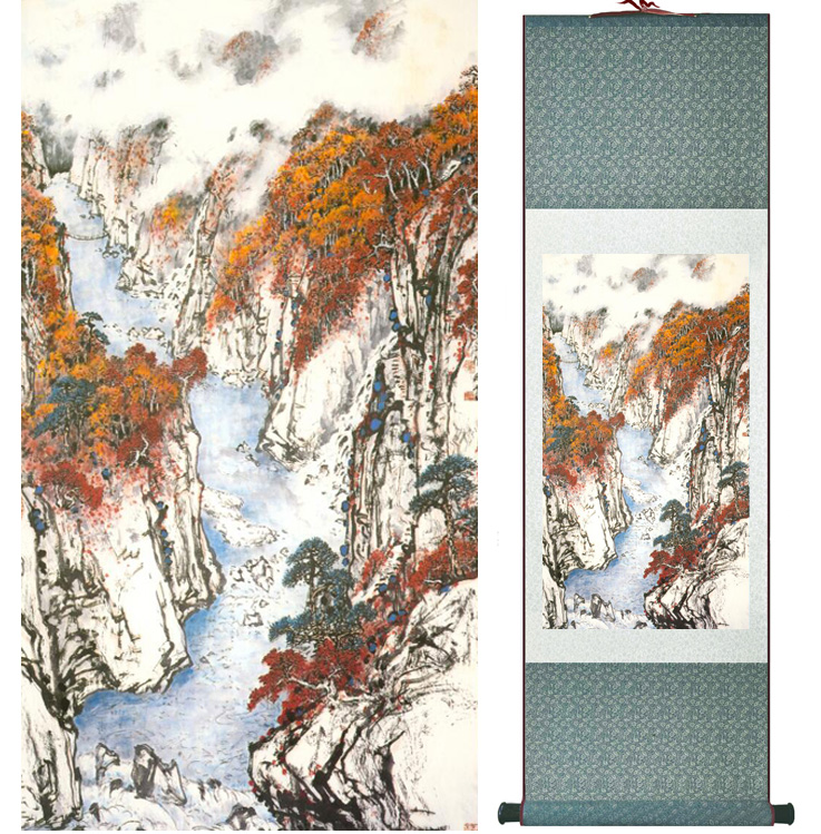 landscape painting Home Office Decoration Chinese scroll painting mountain and River paintingPrinted painting042411