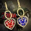 Fashion Heart Hollow Chainring Jewelry The Zelda Legend Heart-Shaped Crystal Key Chain Alloy Gold Frame  Love Keychain YSK063