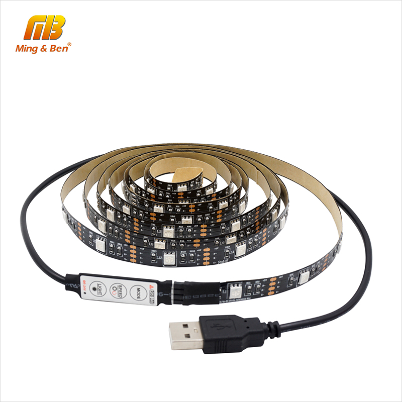 [MingBen] USB LED Strip RGB With 3Key Controller SMD5050 TV Background Lighting Kit Cuttable 30leds/m 0.5M 1M 2M DC5V Waterproof[MingBen] USB LED Strip RGB With 3Key Controller SMD5050 TV Background Lighting Kit Cuttable 30leds/m 0.5M 1M 2M DC5V Waterproof
