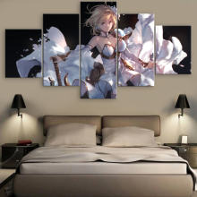 Granblue Fantasy Anime 5 Piece Modern Home Decor HD Print Wall Art Canvas For Living Painting Artwork