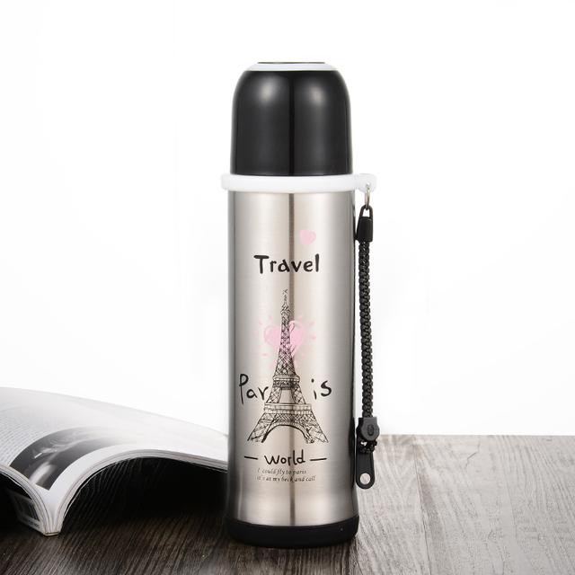 Paris Tower Large Capacity Thermal Cup Vacuum Flask Water Bottle Thermos Mug Leakproof Car Thermo Coffee