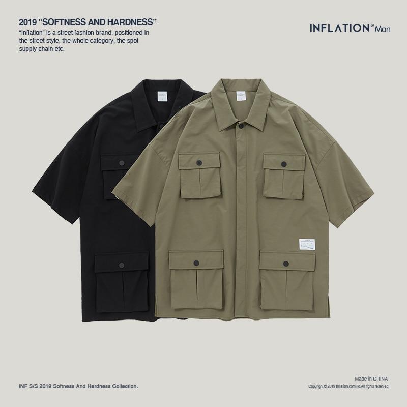 Image 5 - INFLATION Multi pocket Casual Shirt Oversize Short Sleeve Shirt  Mens Dress Shirts Brand Casual Fashion Hip hop Style Shirt 9212SCasual  Shirts