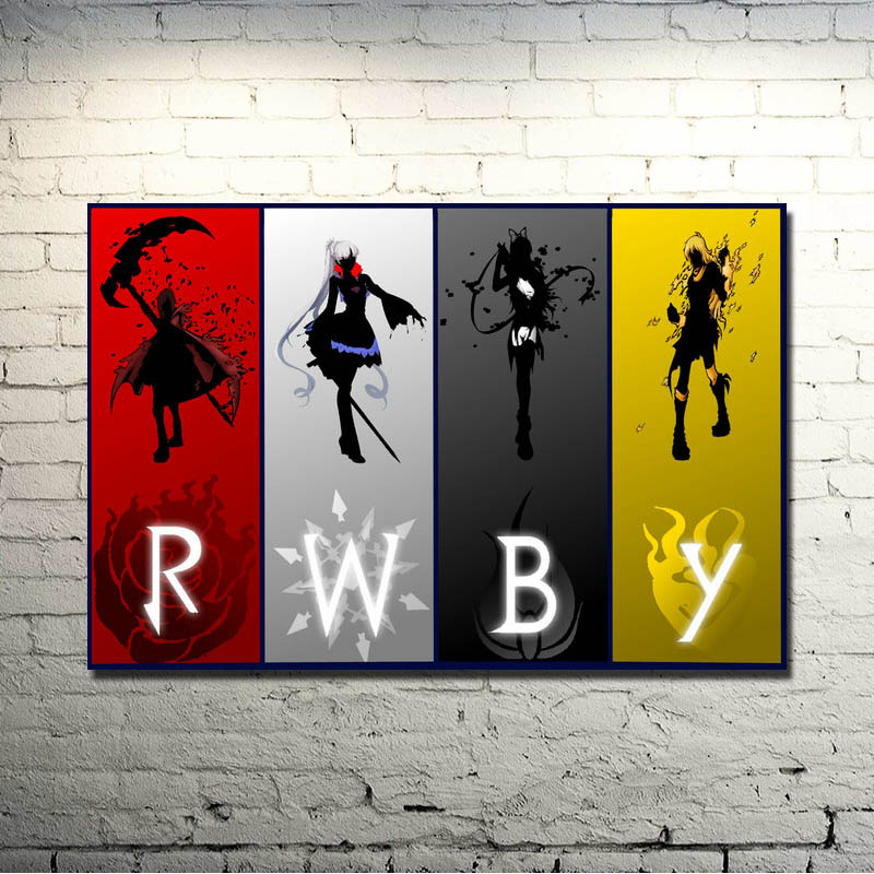 RWBY Volume 2 3 Anime Cartoon Art Silk Fabric Poster Print 13x20 24x36 Inch Pictures For Room Decor Ruby Rose Weiss Schnee 063