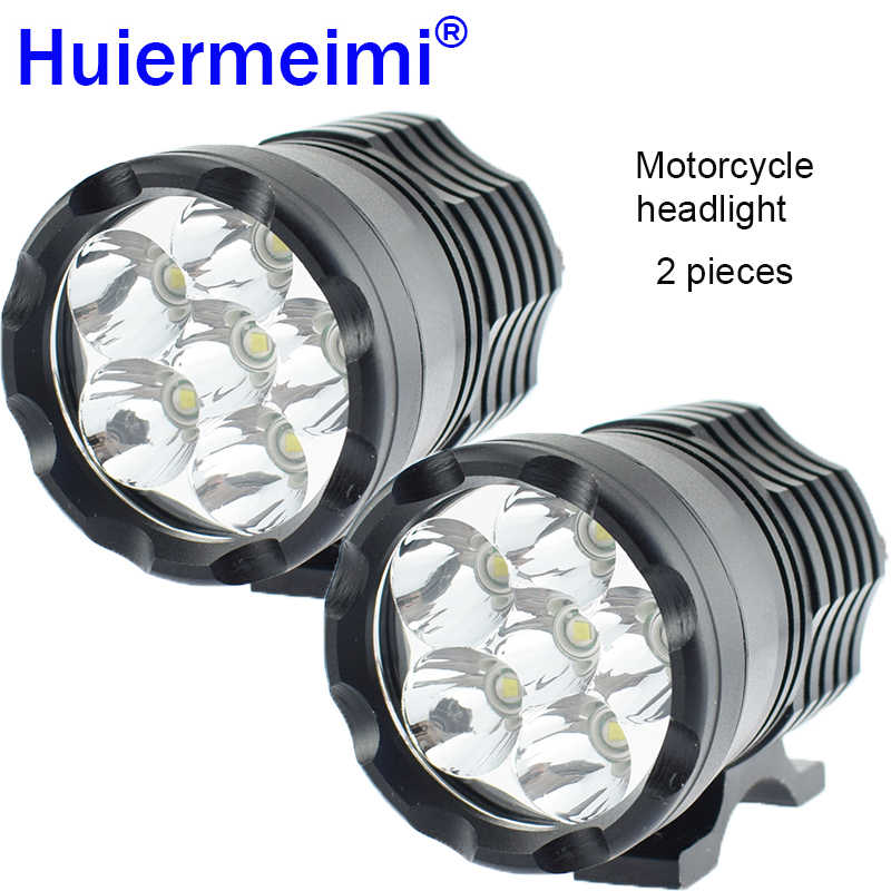2Pcs Motorcycle LED Headlight LED Motorbike Spotlight Headlamp Motor Spot Head Lights 12V 60W 6000K U2 Driving Auxiliary Lamp