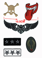Fashion Mixed Skull Lip Wings Stars Military Embroidered Patch Iron On Clothing Uniform Badge DIY Applique