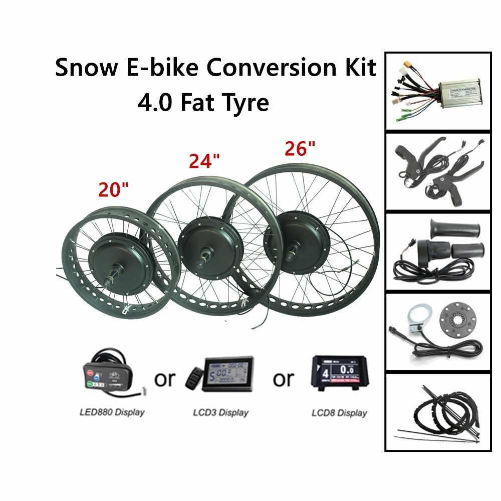 "48V 1000W Snow Ebike Conversion Kit CSC 26"" 4.0 Tyre Electric Fat Bike Front Wheel Rear Wheel Conversion Parts"