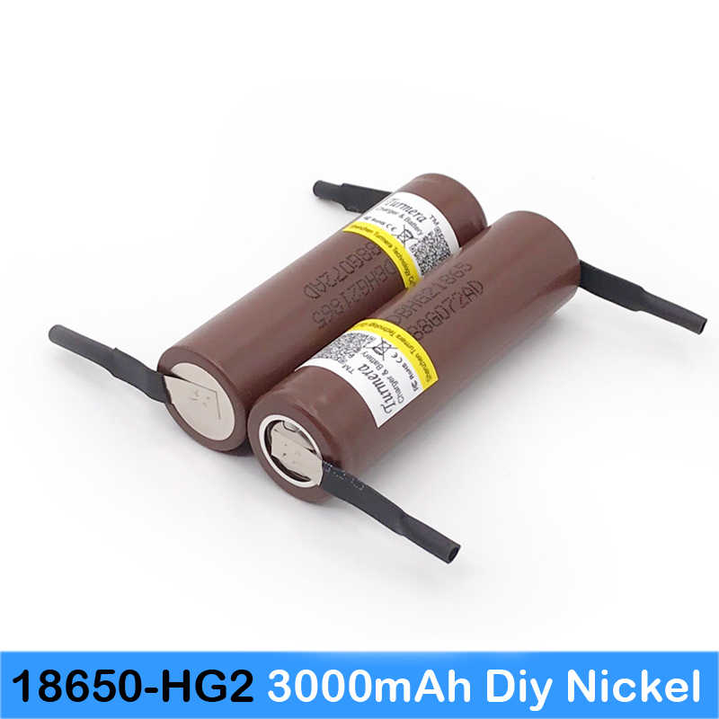 100% NEW Original HG2 18650 3000mAh battery+diy nickel 3.6V discharge 20A dedicated For E-cigarette Power battery 3000mah    jy3