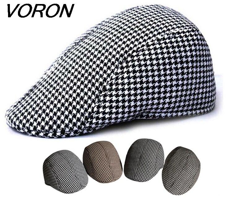 Voron 2017 nueva primavera y otoño mujer knit boinas hombres vintage boinas  lana a cuadros toca tapa boina informal 1ef357c516e