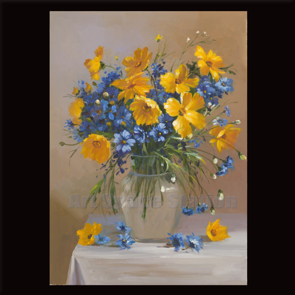 Blue yello wild daisy oil painting on canvas modern floral vase blue yello wild daisy oil painting on canvas modern floral vase picture large flowers canvas wall art home decoration 20x28inch in painting calligraphy reviewsmspy