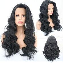 Charisma термостойкие парики боковая часть синтетический парик фронта шнурка длинные волнистые волосы 1B черные для вечерние парики для черных женщин