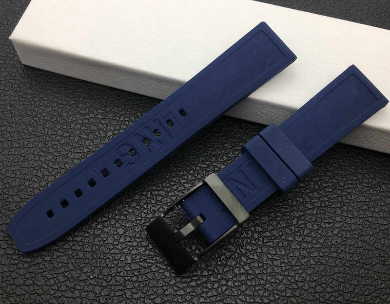 Soft Rubber silicone Watch band 20mm Black bird Watchband Bracelet For navitimer/avenger/Breitling strap tools Blue pin buckles