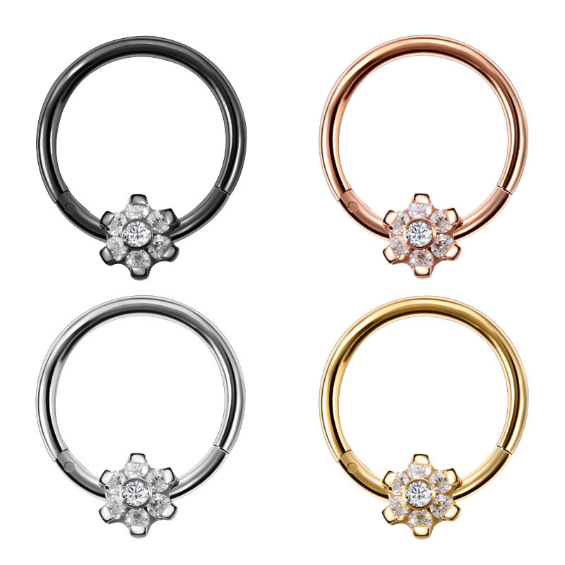 Fashion High Quality Zircon Sexy Nose Rings Women Medical Stainless Steel Anti-allergic Lip Ear Fake Piercing Rings Body Jewelry