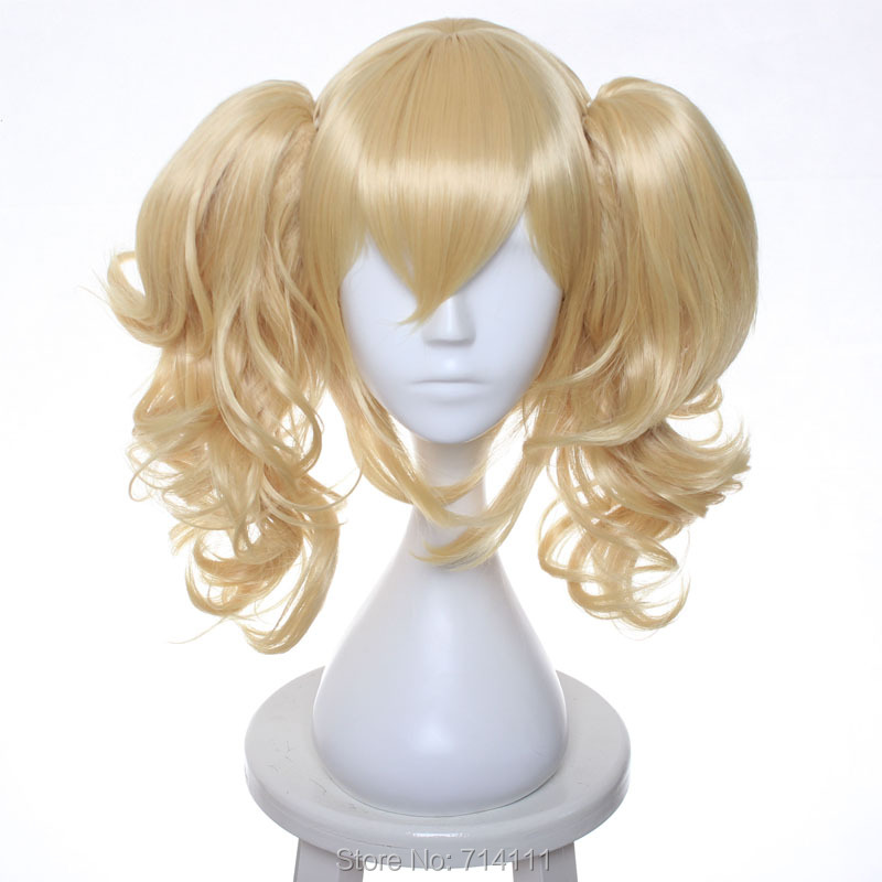 Batman Harley Quinn Cosplay Wigs Golden Blonde Curly Medium Synthetic Hair Ponytails Women Anime Party Wig
