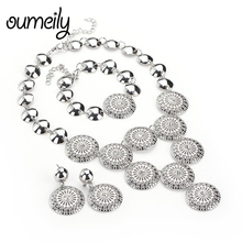 OUMEILY Round African Beads Jewelry Set For Women Dubai Indian Silver Color Costume Jewelr