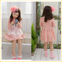 Retail Tulle Lace Fall 2-7Y Girl Kid Flaid Tartan Polka Dot Long Sleeve Dress