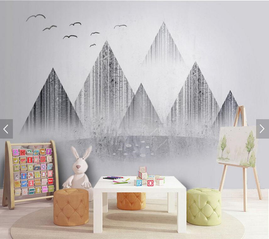 Nordic abstract landscape wall ink painting custom mural papel DE parede,living room tv wall bedroom restaurant bar wallpaper 3d mural papel de parede purple romantic flower mural restaurant living room study sofa tv wall bedroom 3d purple wallpaper