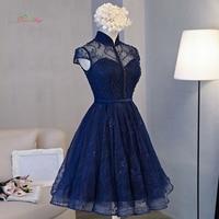 Dream Angel Elegant High Neck Knee Length Homecoming Dresses 2017 Sexy Cap Sleeveles Lace Short Special