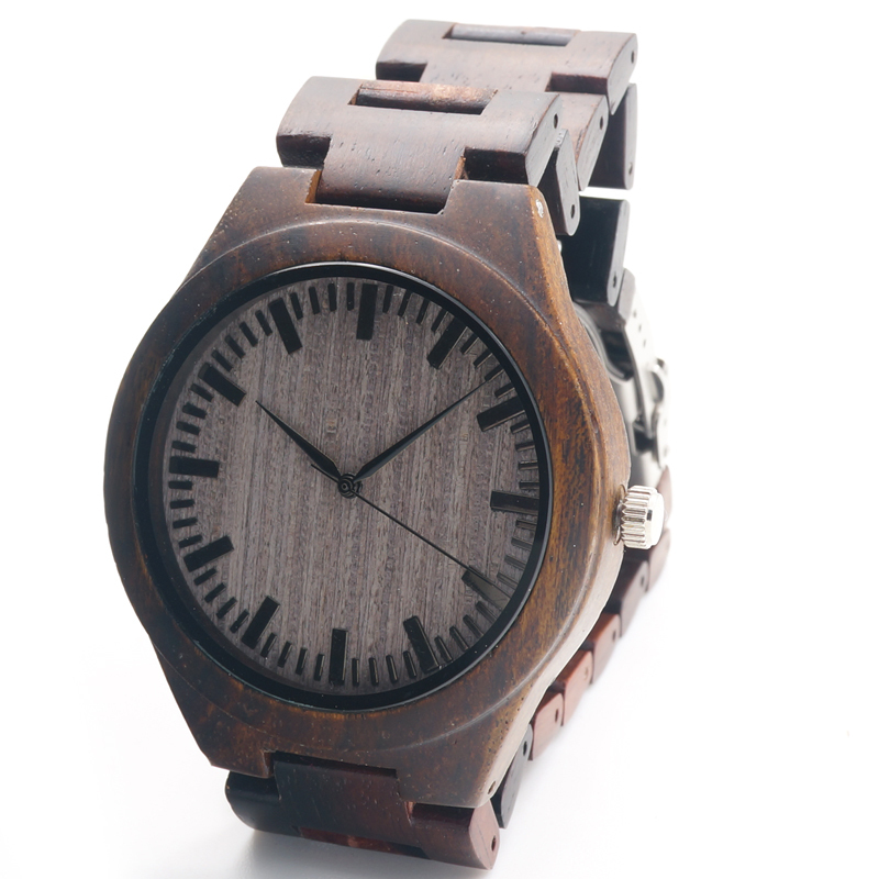 New Arrival Men's Wood Wristwatch Classic Folding Clasp Quarzt Movement Wrist Watch with Wood Strap