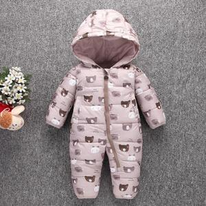 Image 1 - Toddler Baby Down Cotton Cartoon Rompers Newborn Baby clothes snow suit  Winter Thick Warm Children Clothing
