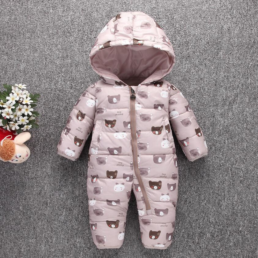 Toddler Baby Down Cotton Cartoon   Rompers   Newborn Baby clothes snow suit Winter Thick Warm Children Clothing