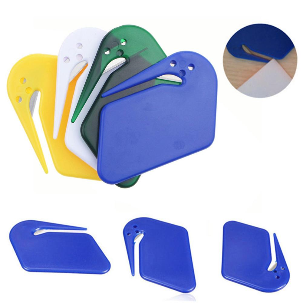 New Arrival Plastic Mini Letter Openera Office Safe Guarded Plastic Stainless Steel Blade Envelope Cutter Random Color