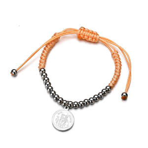 Bangle Wristband Religious Rope-Bracelet Charm-Bead Stainless-Steel Adjustable Women