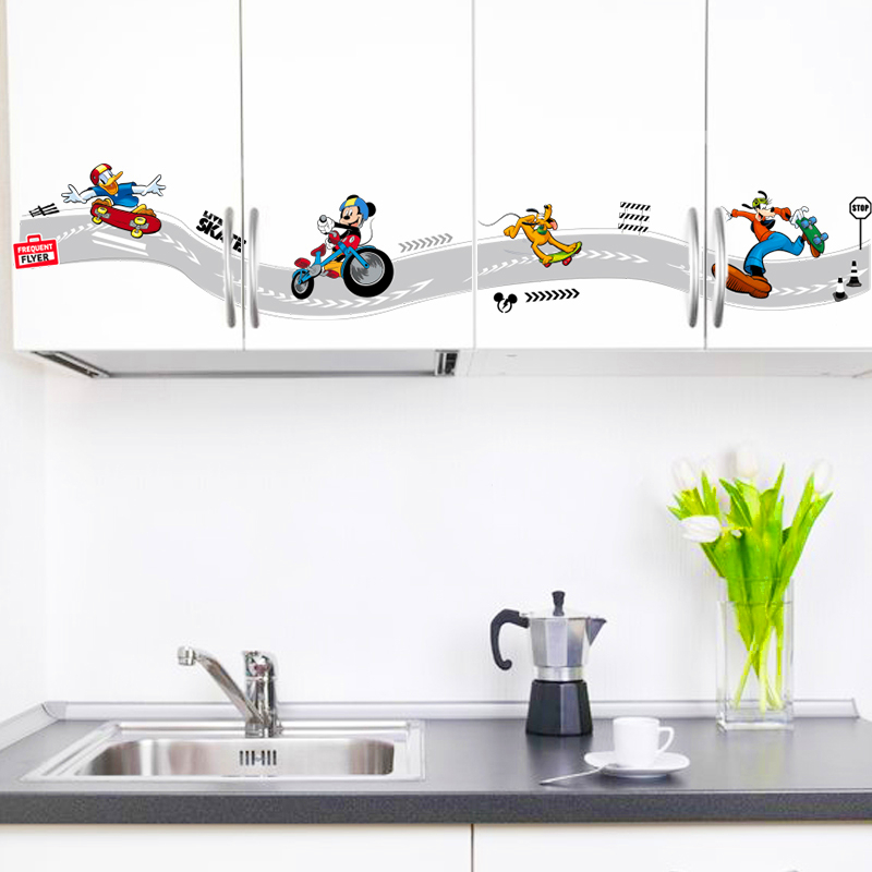 Cartoon Mickey Goofy Donald Duck Skateboard Sports Wall Stickers For Kids Rooms Wall Art Decor Posters Diy Removable Decals